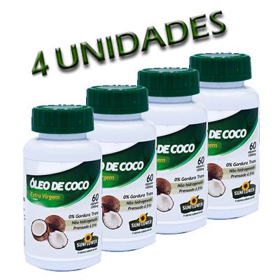 OLEO-DE-COCO-60-CAPSULAS-DE-1000MG-SUNFLOWER--4-FRASCOS