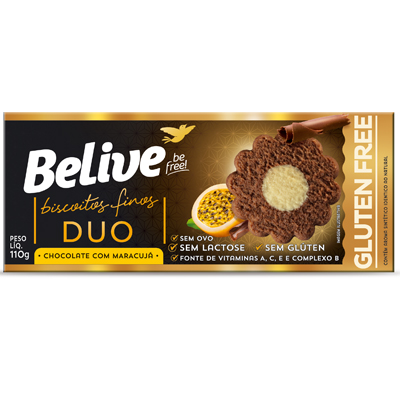 BISCOITOS FINOS DUO BELIVE SEM GLUTEN  110g  BELIVE BE FREE
