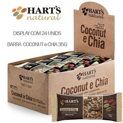 BARRA DE CEREAL COCONUT 25G - COCO,CHIA E CASTANHA - HARTS NATURAL COM 24 UNIDADES