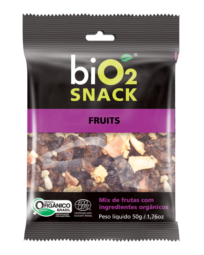 BIO2 SNACK FRUITS COM 6 UNIDADES 50G